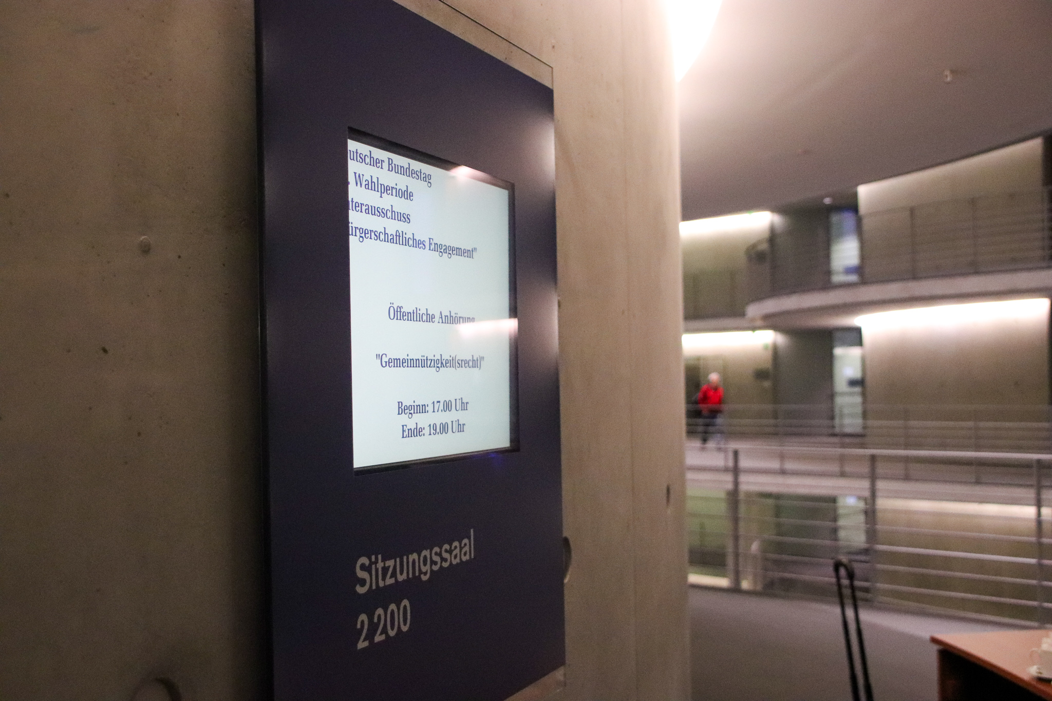 Öffentliche Anhörung Gemeinützigkeitsrecht Unterausschuss Bürgerschaftliches Engagement, Foto © Nikolaus Hausser